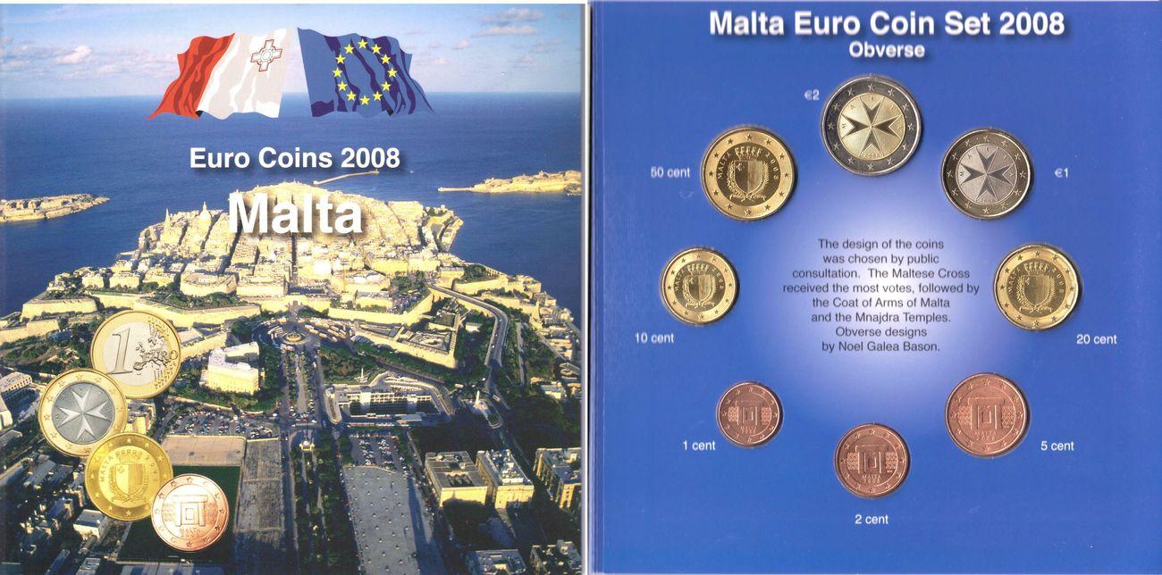 388 Euro 2008 Malta Kursmünzen Satz 8 Münzen Von 1 Cent Bis 2