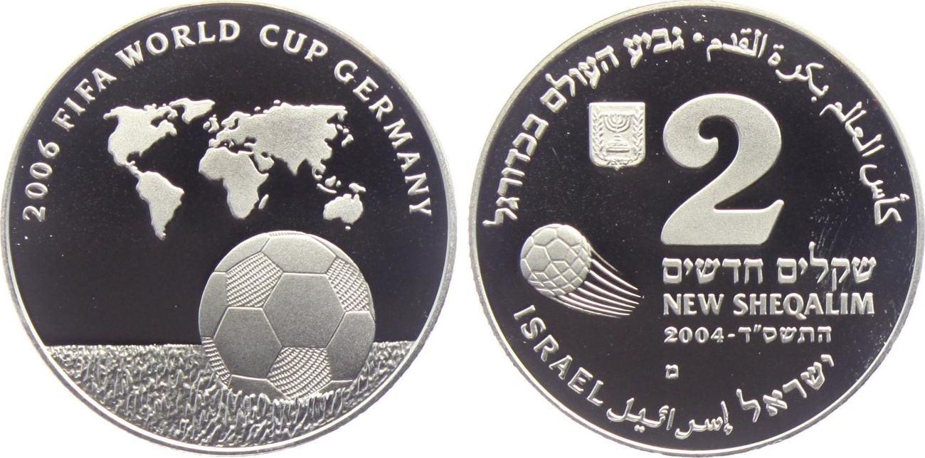 2 Schekel 2004 Israel Fussball Wm 2006 In Deutschland Ball Auf Dem Rasen Weltkarte Proof