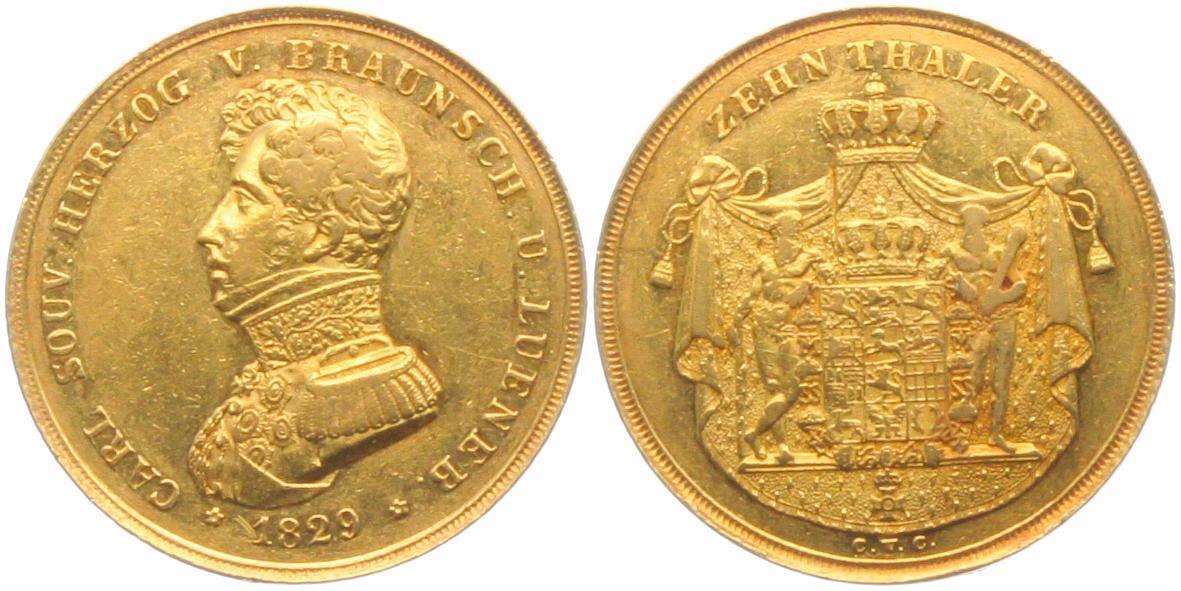 10 Taler 1829 CVC Braunschweig-Wolfenbüttel Herzog Karl II. (1815-1830) VF / EF