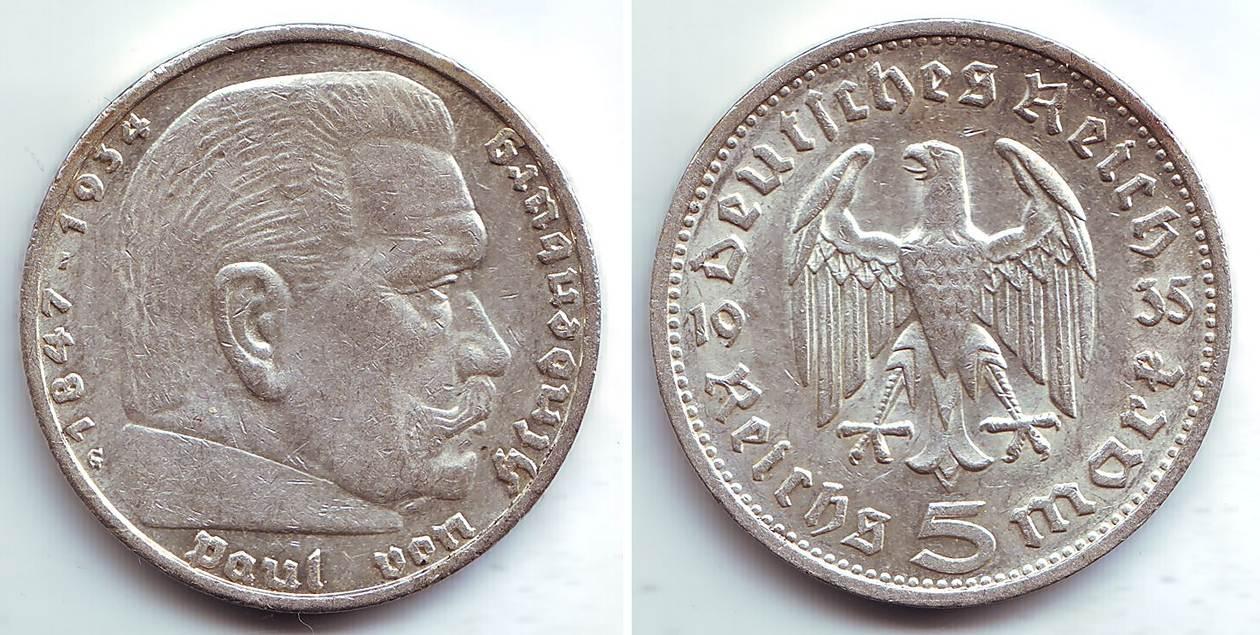 5 Mark 1935 G Drittes Reich Paul Von Hindenburg Spl Ma Shops