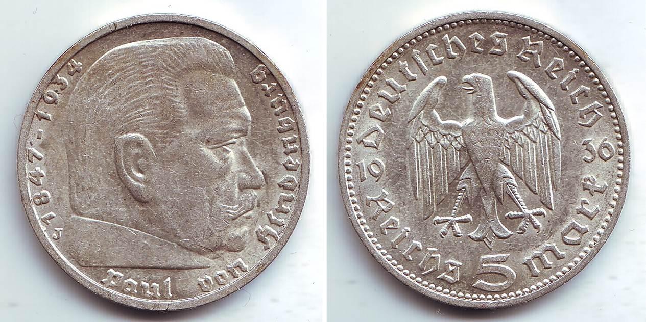 5 Mark 1936 J Drittes Reich Paul Von Hindenburg Fdc Ma Shops