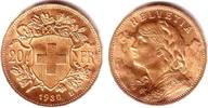 20 Franken 1930 Schweiz Vrenerli prägefrisch