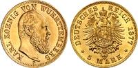 5 Mark 1877 F Württemberg König Wilhelm II...