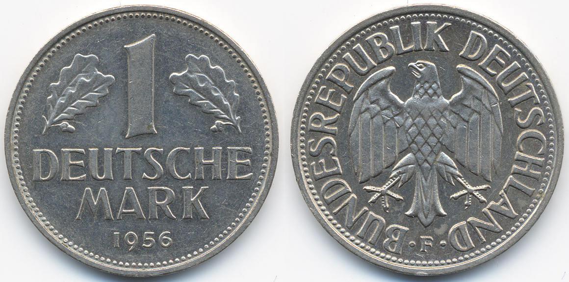 1 DM 1956 F BRD Kupfer Nickel EF