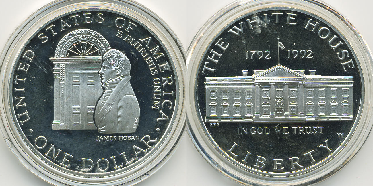 Capsule 1992 White House Proof Silver Dollar Commemorative Coin