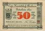 50 Pfennig 1921 Bochum - Westfalen Cafe Handelshof Bochum 1-  55,00 EUR  +  4,80 EUR shipping