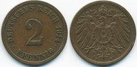 2 Pfennig 1914 F Kaiserreich großer Adler ...