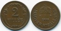 2 Filler 1938 BP Ungarn - Hungary Regierung Horthy 1920-1944 vorzüglich+  1,00 EUR  +  1,80 EUR shipping