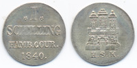 1 Schilling 1840 Hamburg-Stadt Freie und Hansestadt vorzüglich+ - klein... 29,00 EUR  +  4,80 EUR shipping