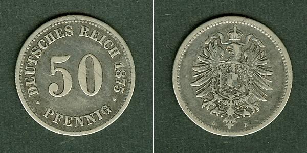 1875 Kleinmünzen 50 Pfennig Deutsches Reich 50 Pfennig 1875 B J7