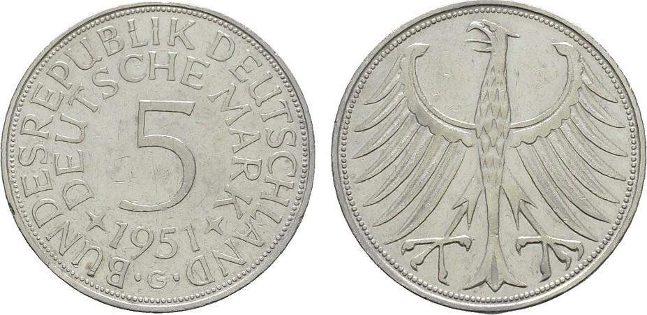 5 Dm 1951 G Bundesrepublik Deutschland Vf Ef Ma Shops