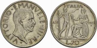 20 Lire Anno VI 1927, Rom. ITALIEN Victor Emanuel III., 1900-1946. Vorzüglich-stempelglanz