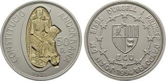 50 Diniers 1993. ANDORRA Parlamentarische Monarchie. Stempelglanz