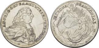 Konv.-Taler 1765. WÜRZBURG Adam Friedrich von Seinsheim, 1755-1779. Vorzüglich.