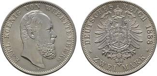 2 Mark 1888, F. Württemberg Karl, 1864-1891. Stempelglanz.