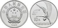 10 Yuan 1990. CHINA  Polierte Platte, geka...
