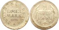 Verprägung. 3 Mark 1 1924  A Weimarer Republik  Dezentriert. Vorzüglich  345,00 EUR free shipping