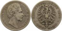 2 Mark 1876  D Bayern Ludwig II. 1864-1886...
