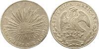 8 Reales 1877  GO Mexiko Republik. Randfeh...