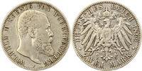 2 Mark 1892  F Württemberg Wilhelm II. 189...