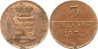 3 Pfennig 1834  G Sachsen-Albertinische Li...