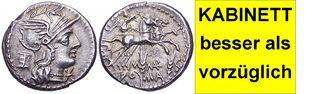 AR Denar 134 v. Chr. Römische Republik M. MARCIUS MN. F. besser als vorzüglich, feine Tönung