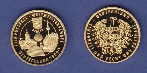 2006 Brd Goldmedaille Fifa Wm 2006 Die Wahrzeichen Der Fifa Wm Stadt Berlin Proof Pp Polierte Platte