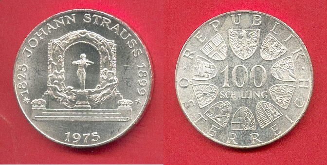 100 Schilling 1975 Oesterreich Johann Strauß Ch Unc Brilliant
