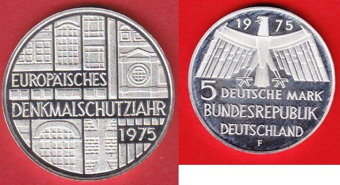 5 Dm 1975 Brd Eu Denkmalschutzjahr Offen Gekapselt Polierte Platte