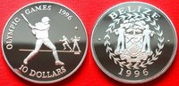 10 Dollars 1996 Belize Baseball, Olympiade...