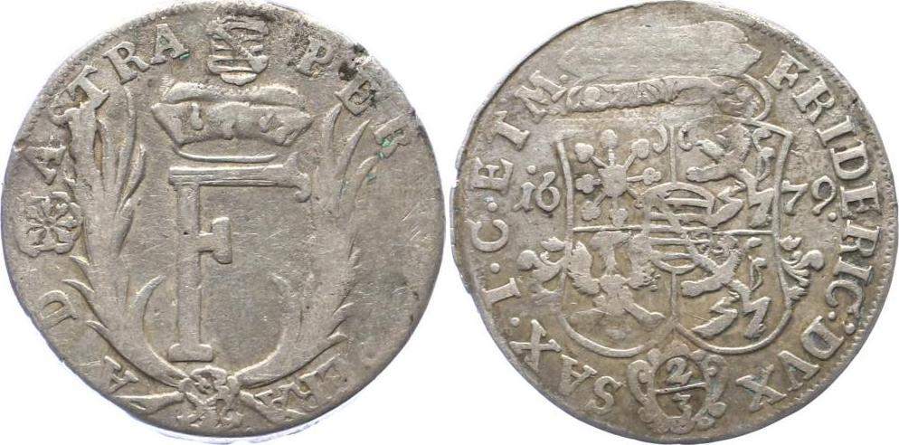 2 3 Taler 1679 Sachsen Gotha Altenburg Herzogtum Friedrich I 1675 1691 Prgeschwche VF