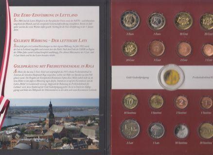 Latvia Lettland Official Euro Coins Mint Set 2014 BU