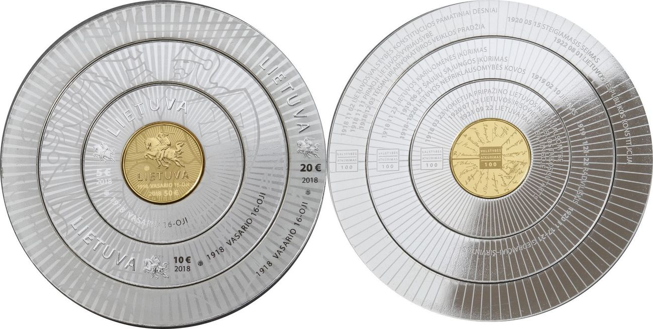 50, 20, 10 + 5 € RAR nur 4000 Stück 2018 Litauen - Lietuva - Lithuania 100  years independence 4 coin values: 50 Eur Gold and 3 rings silver s  picture