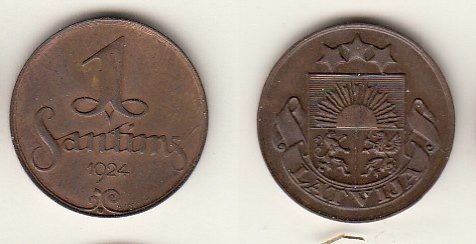 1 латвия 1 сантим 1924 как монеты ценятся