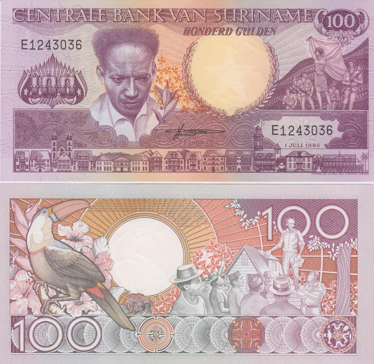 100 Gulden Suriname 1986 Banknote UNC