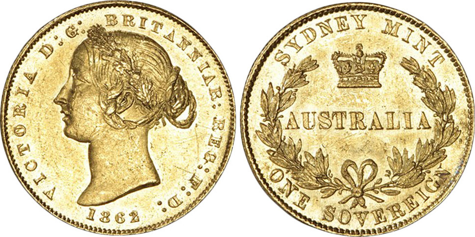 Sovereign 1862 Australia 1862 Australia Queen Victoria Sydney mint type II  Sovereign in Rare UNC UNC