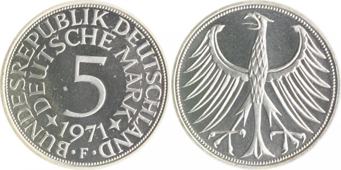 5 Deutsche Mark Dm 1971 F Bundesrepublik Deutschland Brd Proof Ma S