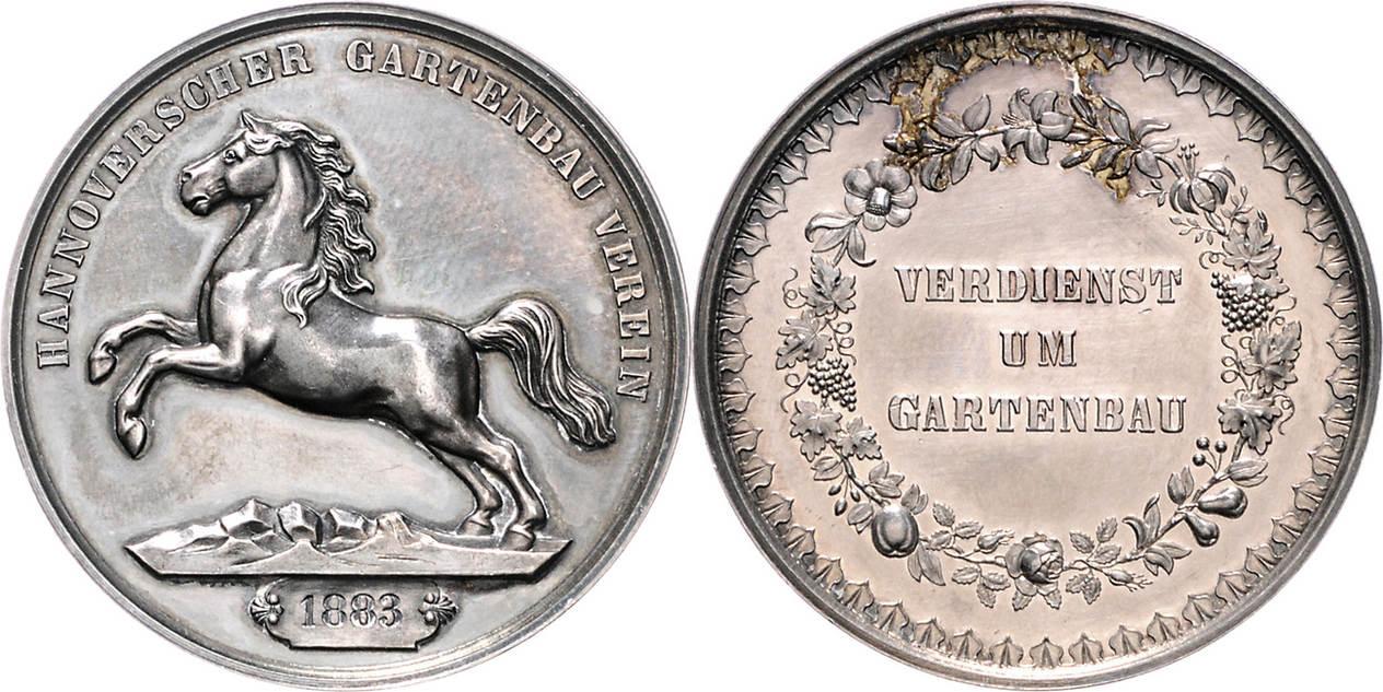 Gartenbau Hannover silbermedaille 1883 braunschweig und lüneburg hannover stadt des