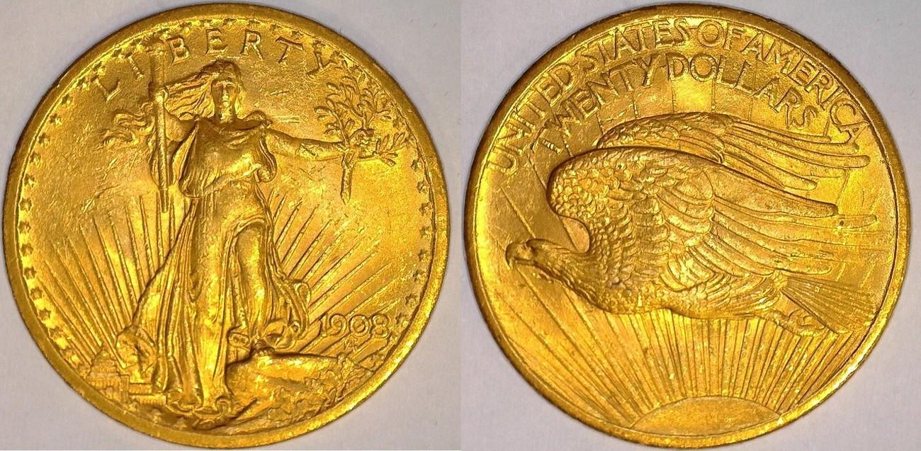 20 Dollars 1908 USA Saint Gaudens Double Eagle VF