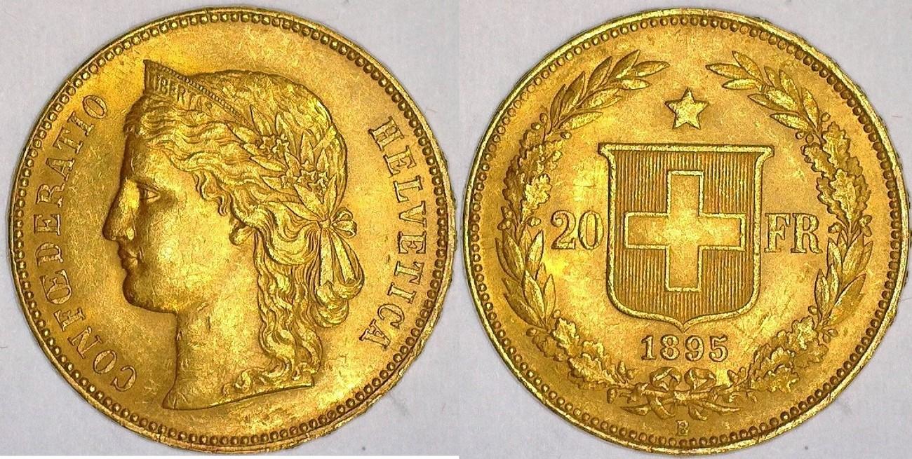 20 Francs 1895 Switzerland Helvetica Xf Ma Shops