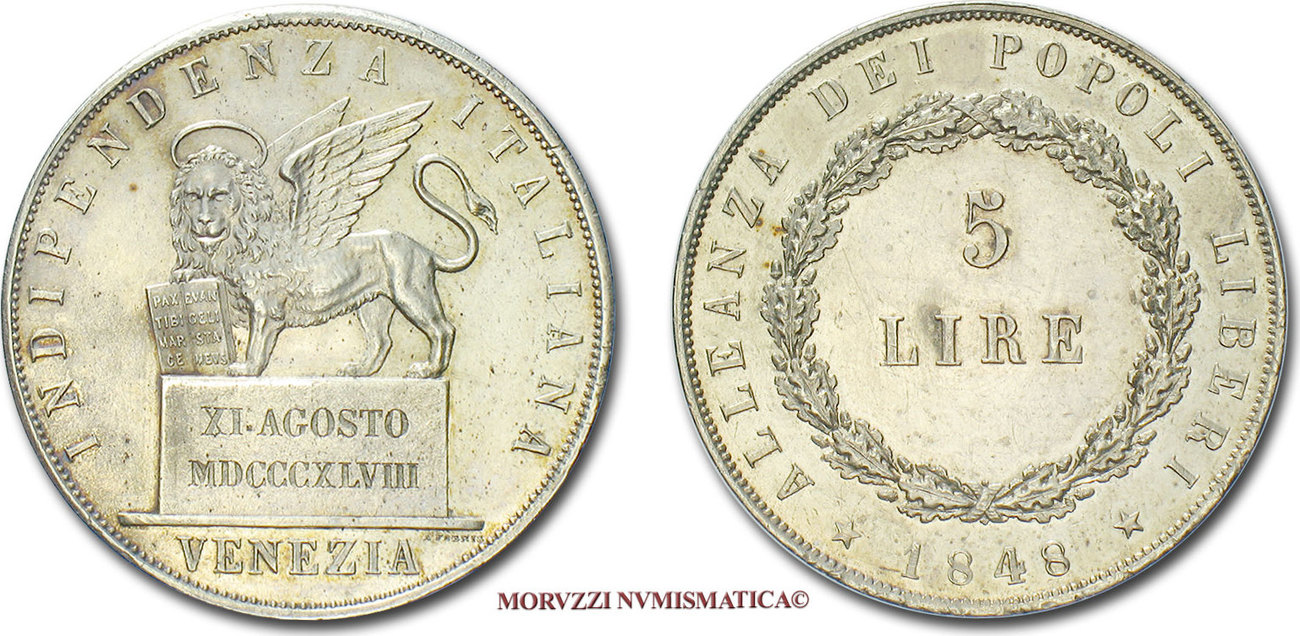 b69393dfcd 5 LIRE 1848 Venice / Venedig Provisional government of Venice good ...