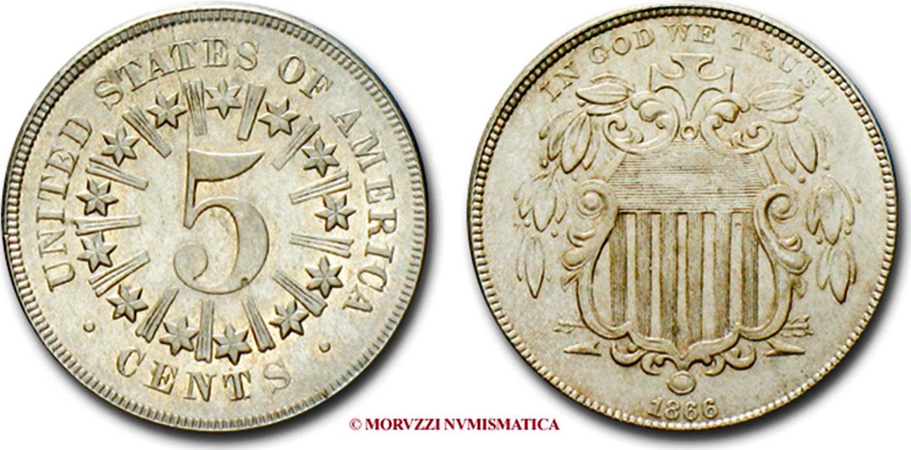 5 Cents Shield Nickel 5 Cent Münze 1866 Usa Les états Unis D