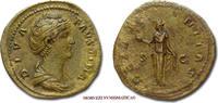 SESTERTIUS / SESTERZ after 141 AD Roman Empire / RÖMISCHE KAISERZEIT Faustina die Ältere Sehr Schön