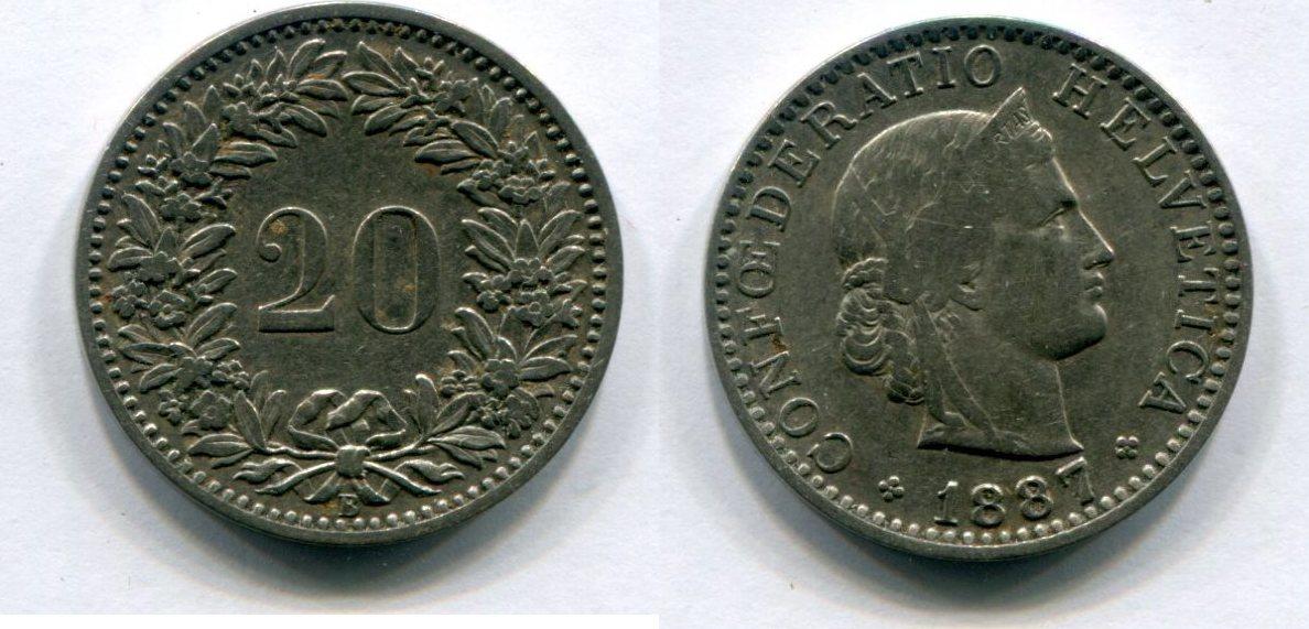 20 Rappen 1887 B Schweiz Helvetica Vf Ma Shops