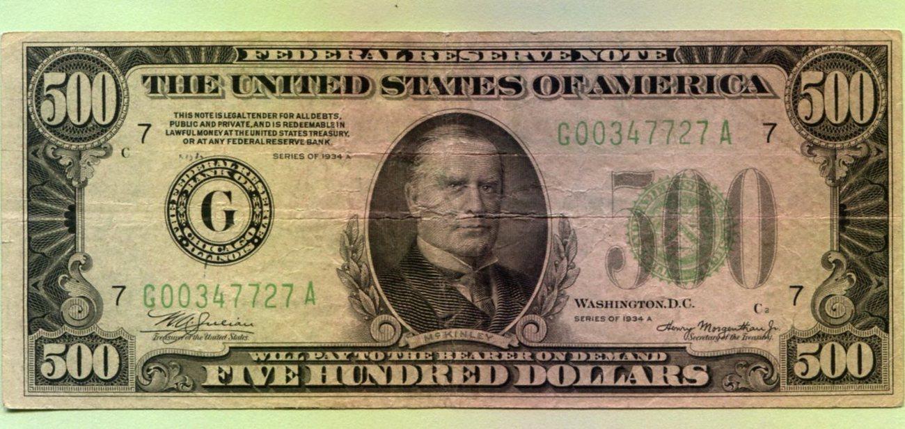 500 Dollars 1934a Usa Vf Ma S
