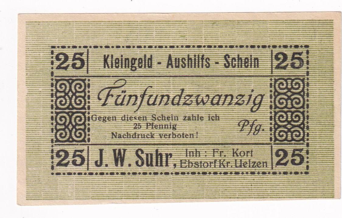 25 Pfg O D 1919 Niedersachsen Ebstorf I Ma Shops