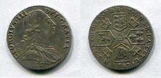 1 Schilling 1787 Großbritannien ~ Georg III. ~ vz