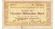 100 Milliarden Mark 1923 Wetzlar, Buderus´...