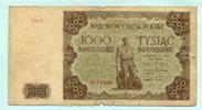 1000 Zlotych 1947 Polen,  stark gebraucht  22,00 EUR  +  7,00 EUR shipping