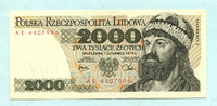 2000 Zlotych 1.6.1979 Polen,  Unc  10,00 EUR  +  7,00 EUR shipping